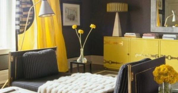 Bright Yellow Curtains Add A Pop Of Color In A Gray Room