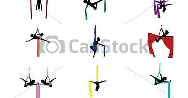 D Line Drawings Logo : Vector aerial acrobats set stock illustration royalty