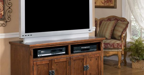 Ashley Furniture Cross Island 50 Inch Oak Tv Stand With Mission Style Hardware Wayside