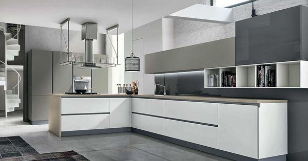 Cuisine en l cuisine moderne blanche et grise sans for Cuisine moderne sans poignees