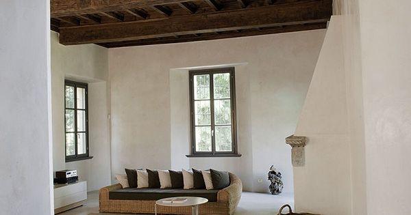 Italian Beam Ceiling Thick Walls Taper At Windows