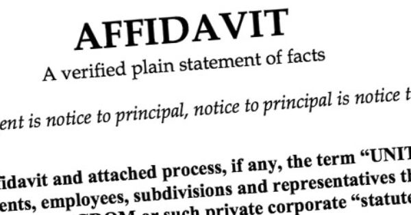 Affidavit Of Support Where An Affiant Is Formally Notifying The