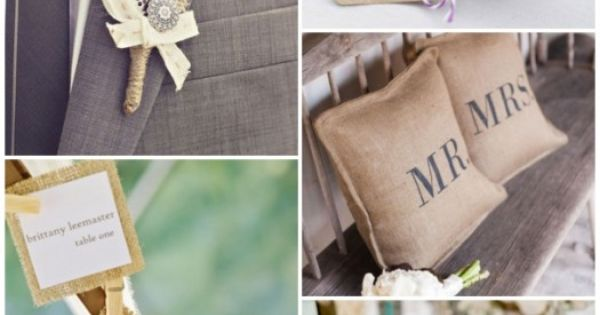 love this!! Burlap rustic ideas