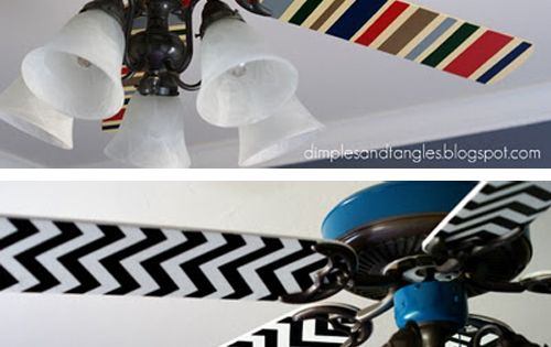 Mod Podge fabric onto fan blades. I really like this idea the