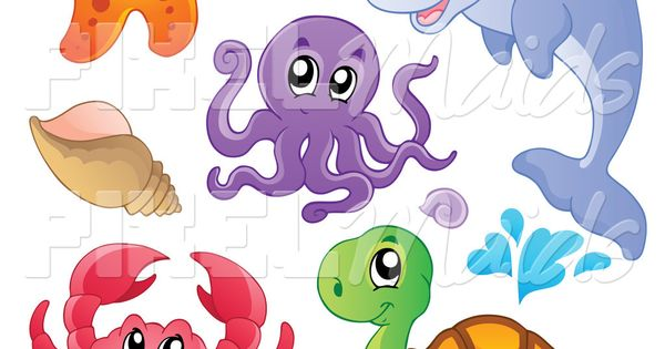 Clipart of a cute starfish dolphin octopus crab sea turtle