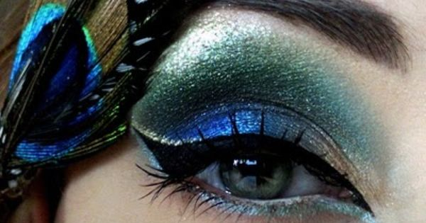 Peacock feather eye shadow colors.