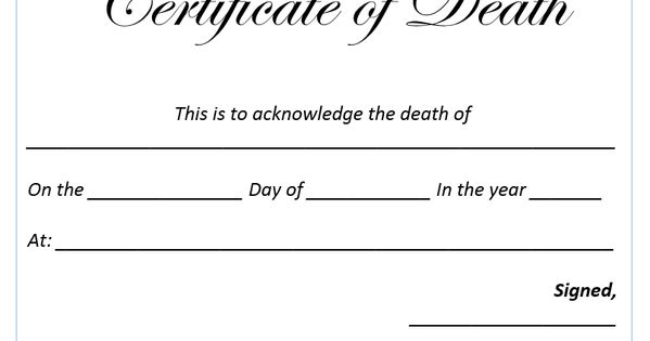 Death Certificate Template Anatomy Pinterest – Death Certificate Template