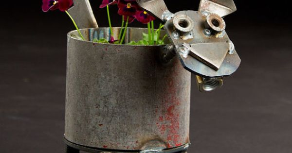 Made Of Recycled Industrial Scrap Metal This Dog Planter Will Fit Standard Medium Size Pots 6