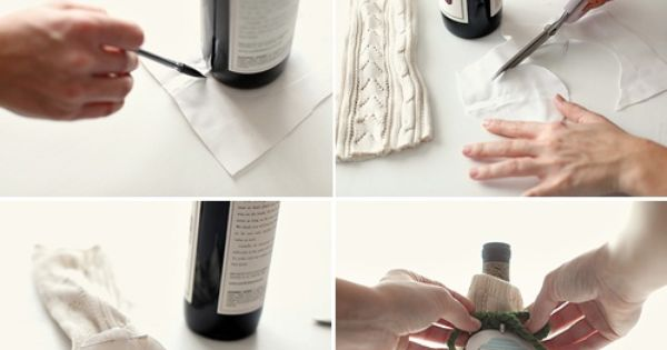 DIY Sweater Wraps for Wine Bottles gift idea
