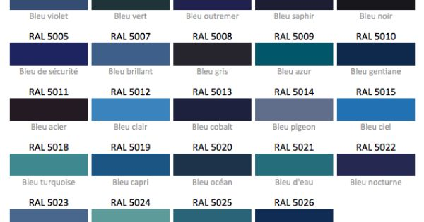 Nuancier bleu ral colours pinterest for Nuancier bleu canard