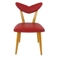 Red Heart Midcentury Childrens Chair Austria 1950s