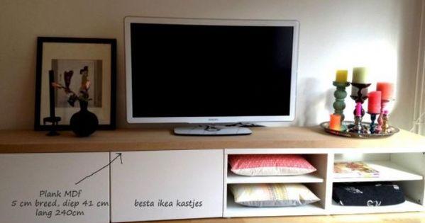 Eetkamer interieur idee n leuk tv dressoir van ikea besta kastjes en een mdf plank erop zodat - Idee van de eetkamer ...
