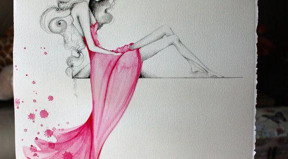 Ooak arte original acuarela dibujo a l piz rosa chica - Pinturas de moda ...