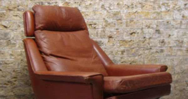 Adult Seating Area Vintage Danish Brown Tan Leather