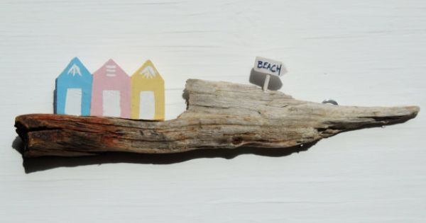 Driftwood Wall Hanging Beach Huts By Simplycharmingukshop On Etsy Great Stuff