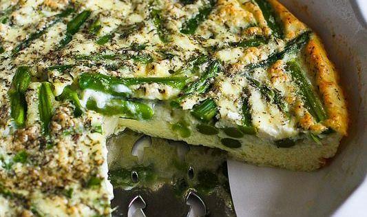 Asparagus & Feta Cheese Crustless Quiche | Recipe | Quiche, Asparagus ...