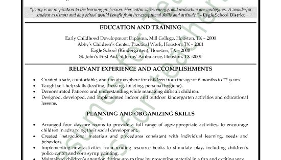 Teacher's Aide Or Assistant Resume Sample Or CV Example