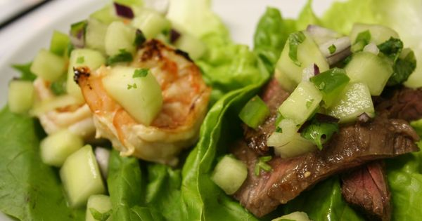 Steak and Shrimp Lettuce Wraps with cucumber melon salsa