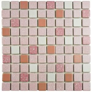 Merola Tile Crystalline Square 12 In X 12 In Pink Porcelain Mosaic Tile 9 79 Sq Ft Case Fkosrr91 The Home Depot Porcelain Mosaic Tile Porcelain Mosaic Mosaic Flooring