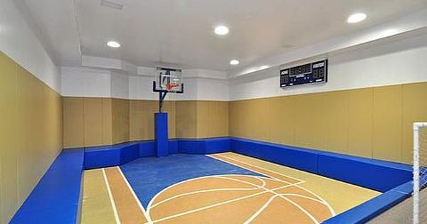 16 Homes With Basketball Courts You Can Buy Now Indoor Basketball Court Basketball Court Flooring Indoor Basketball