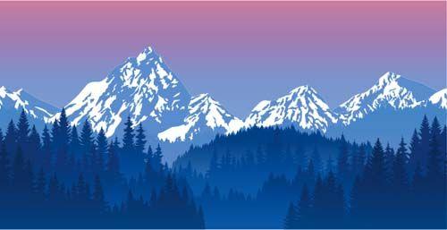 Mysterious Snow Mountain Landscape Vector Graphics 04 Mountain Landscape Mountain Illustration Vector Graphics