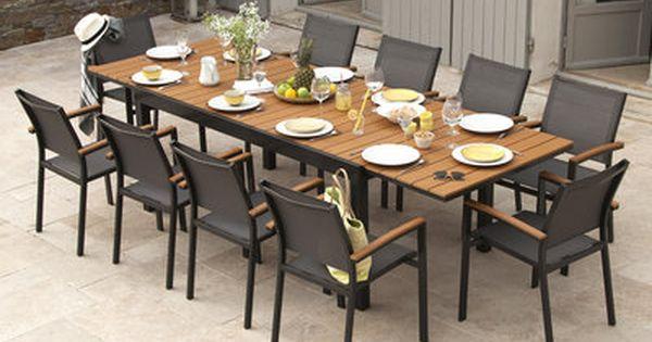 Salon De Jardin Aluminium Gris Et Composite Bois 1 Table