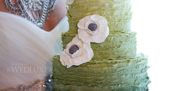 Ombre (or white) ruffled cake design - no fondant, organic look