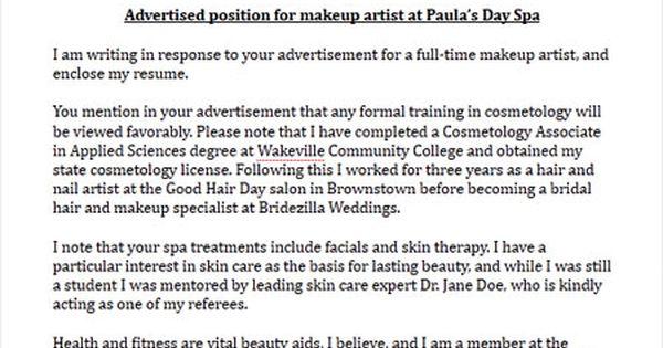 Makeup Artist Cover Letter Sample Cover Letter Sample