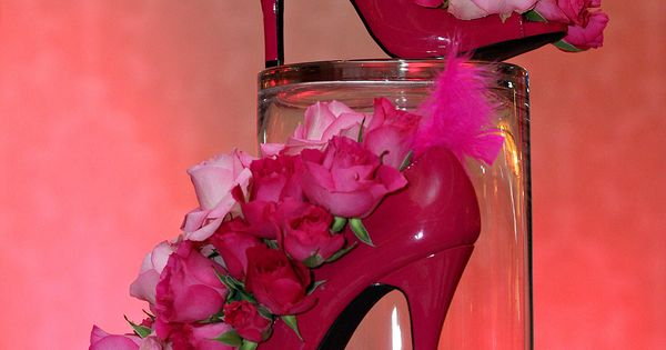 Pink high heel floral centerpieces ladies luncheon