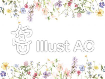 花枠216 控えめな花のパレードの飾り枠 花 フレーム 花 イラスト 飾り枠