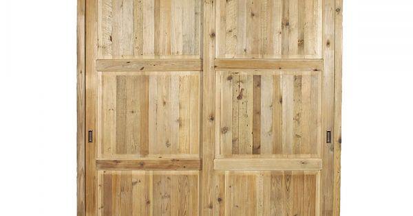 Armoire 2 portes coulissantes en pin massif recycl deco for Armoire pin massif porte coulissante