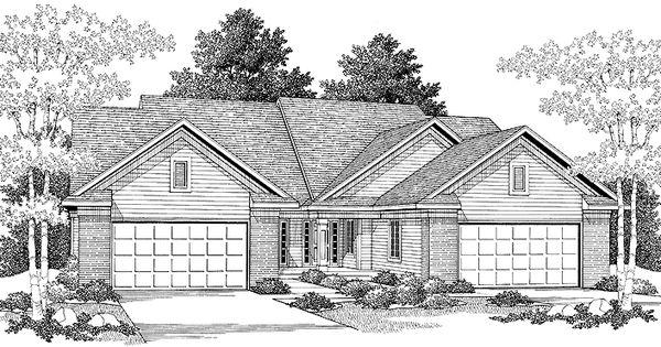 Eplans cottage house plan attractive duplex with rear for Eplans cottage house plan