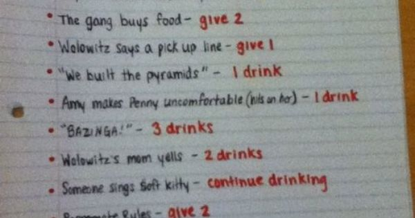FUNNY!!!!! Love this show!!! The Big Bang Drinking Game, will you play?!