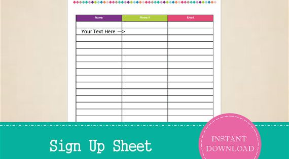 Sign Up Sheet Printable and Editable by MBucherConsulting | Printables ...
