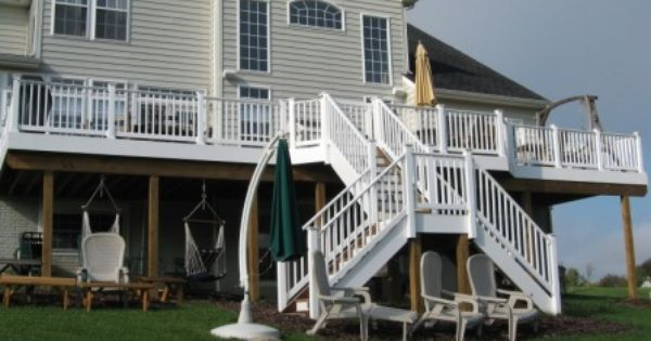 Deck Steps With Landing Deck With White Vinyl Railing