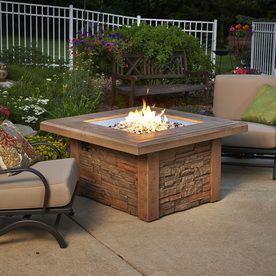 Sierra 43 In W 60 000 Btu Mocha Faux Stone Propane Gas Fire Table