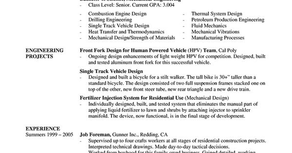 A Mechanical Engineer Resume Template Gives The Design Of The Resume Of A Mechanical Engineer