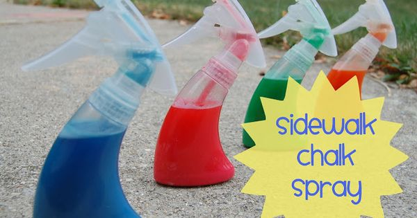 Spray sidewalk chalk: 1 tablespoon of flour, 10 drops of food coloring,