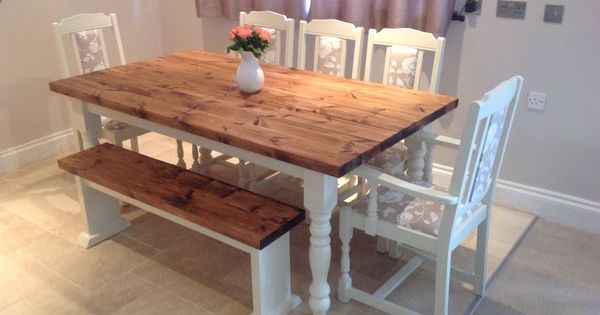 Shabby Chic Rustic Farmhouse Solid 8 Seater Dining Table Bench And 6 Oak Chairs Farmhouse Kitchen Table Sets Rustic Dining Room Table Kitchen Table Settings