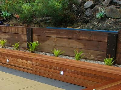 Modern Wood Retaining Wall The Garden Pinterest Front yards