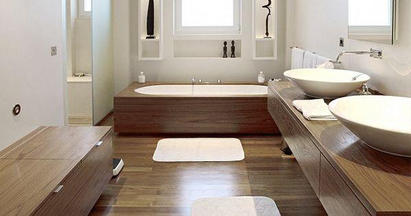 Bad houten omkadering donker bruin wit badkamer pinterest bathroom met and woods - Kamer wit houten bad ...