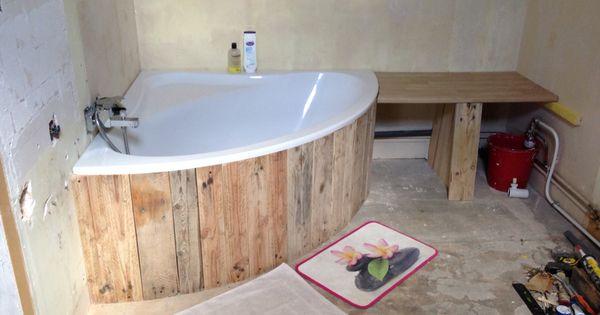 Coffrage baignoire d angle meuble en bois pinterest bath - Coffrage baignoire bois ...
