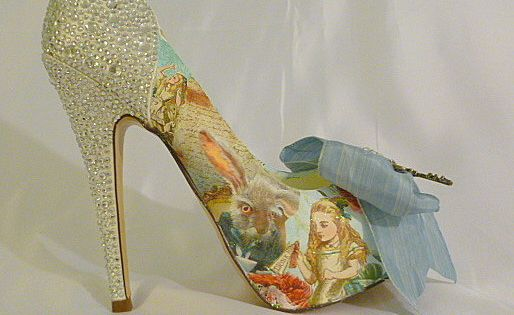 Alice in Wonderland theme wedding shoes .. by TessHarrissDesigns, $455.00