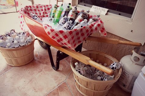 Drink area - watering hole - farm theme 1st birthday party, wheelbarrow