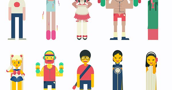 Character Design Shuffle App : Character design for music app by qian hao via behance