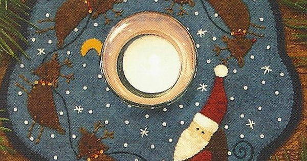Primitive Folk Art Wool Applique Pattern Santa By