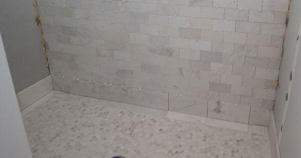 White Carrera Marble Slab Shower We Used Statuary White