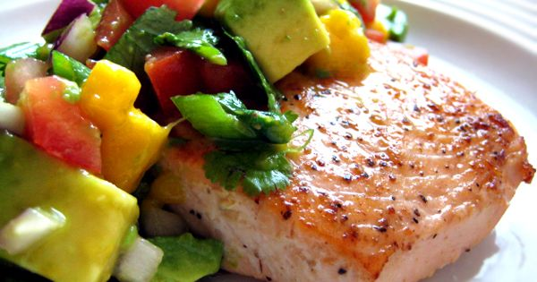 Salmon with Avocado Mango Salsa [recipe]