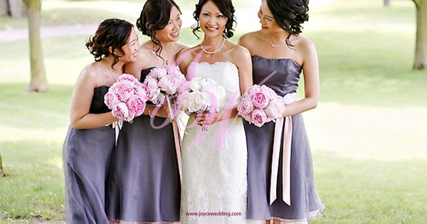 Pink peony bouquet grey purple bridesmaid dress bridesmaid