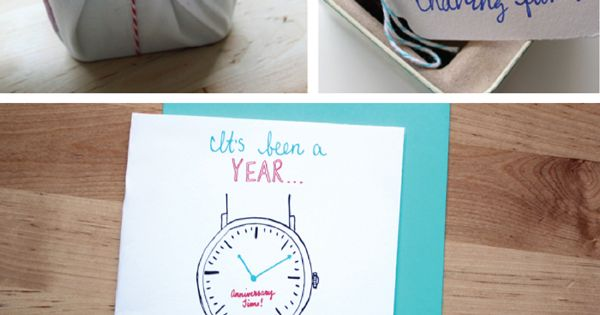 time themed 1 year anniversary gift idea... pretty sure this is exactly what I was already planning on doing. Love this!